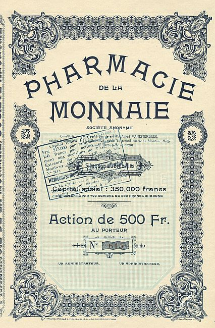 Pharmacie de la Monnaie historic stocks - old certificates