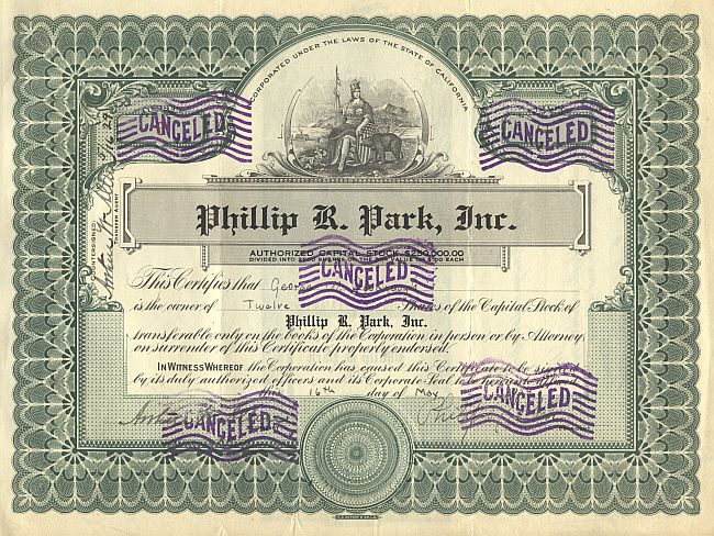 Phillip R. Park, Inc. historic stocks - old certificates