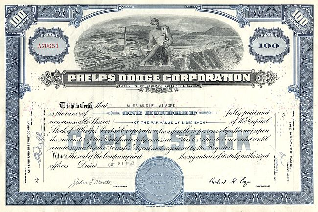 Phelps Dodge Corporation historic stocks - old certificates