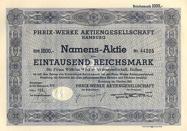Phrix-Werke Aktiengesellschaft historic stocks - old certificates