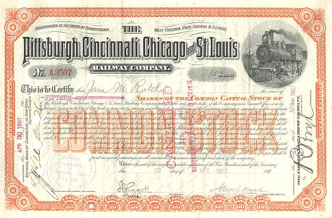 Pittsburgh, Cincinnati, Chicago and St.Louis Railway Company historische Wertpapiere - alte Aktien