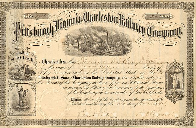 Pittsburgh, Virginia and Charleston Railway Company  historic stocks - old certificates