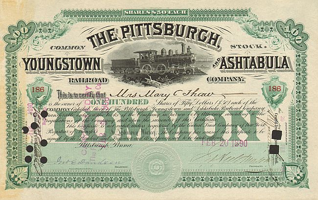 Pittsburgh, Youngstown and Ashtabula Railway Company historische Wertpapiere - alte Aktien