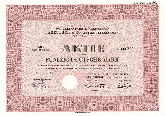 Porzellanfabrik Waldsassen Bareuther & Co. Aktiengesellschaft historic stocks - old certificates