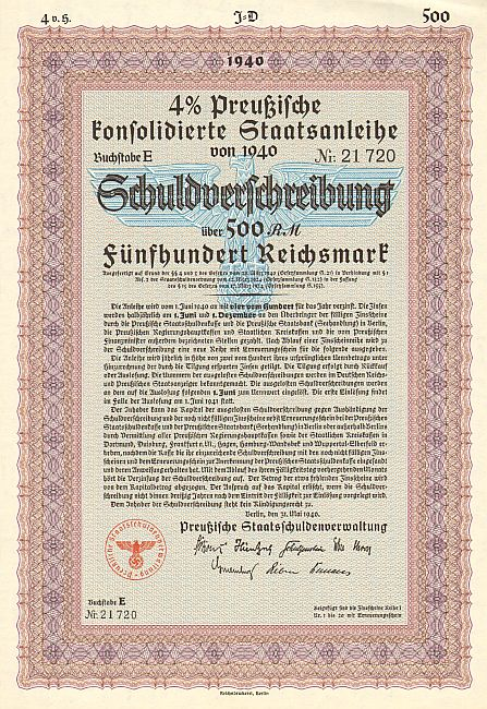 Preußische Staatsschuldenverwaltung (Mai 1940) 500 Mark  historic stocks - old certificates