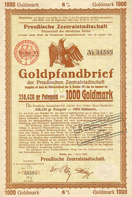 Preußische Zentralstadtschaft (April 1925) 1000 Goldmark  historic stocks - old certificates
