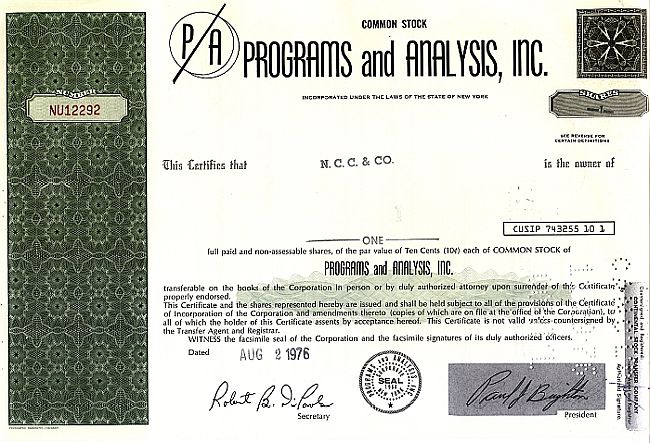 Programs and Analysis Inc. historic stocks - old certificates