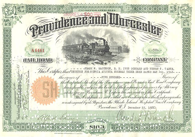 Providence and Worcester Rail Road Company historic stocks - old certificates