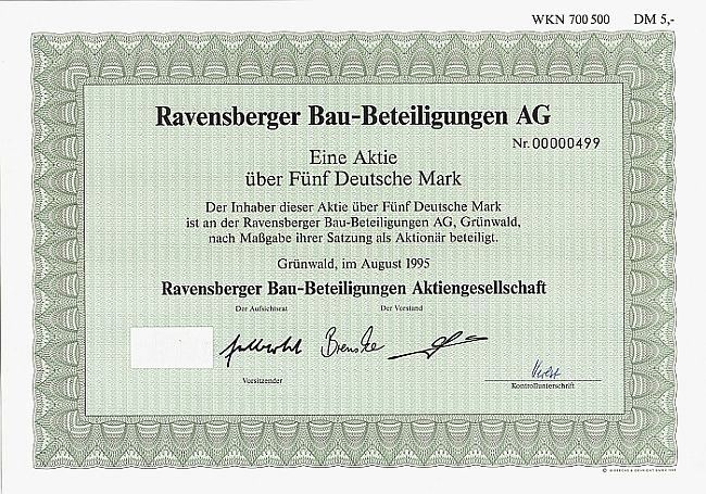 Ravensberger Bau-Beteiligungen AG historic stocks - old certificates