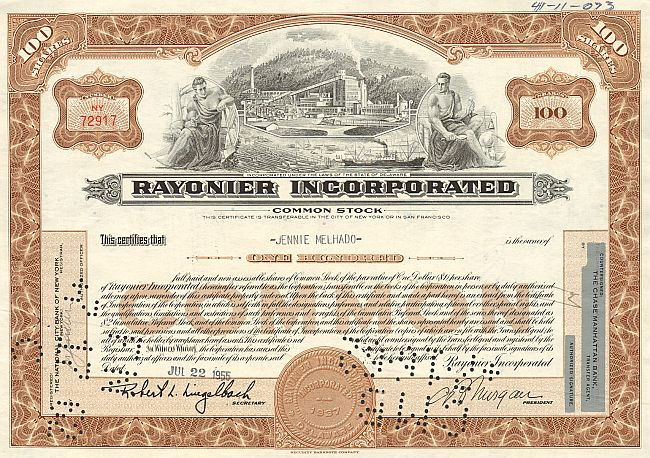 Rayonier Incorporated historic stocks - old certificates