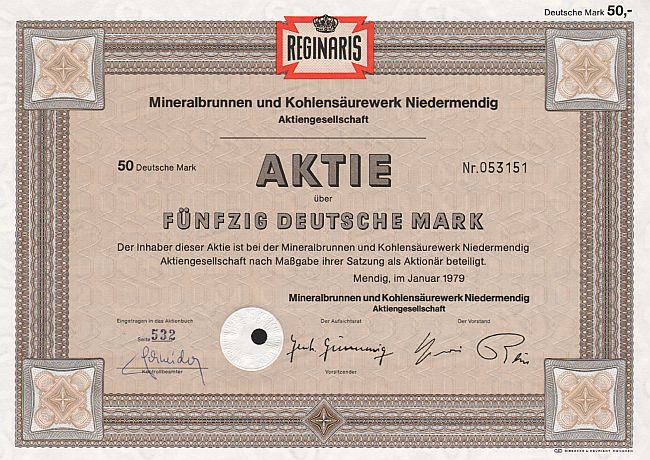 Reginaris Mineralbrunnen und Kohlensäurewerk Niedermendig A.G. historic stocks - old certificates