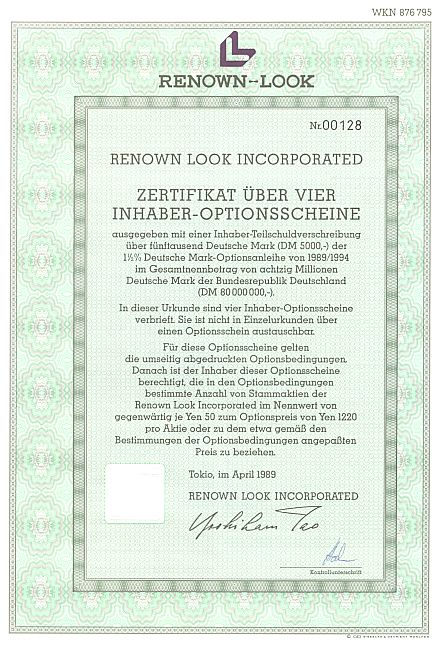 Renown-Look Incorporated historic stocks - old certificates