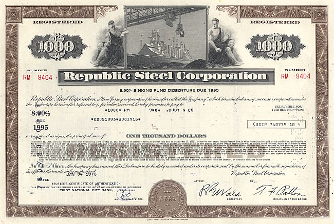 Republic Steel Corporation historische Wertpapiere - alte Aktien