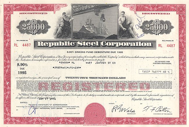Republic Steel Corporation historic stocks - old certificates
