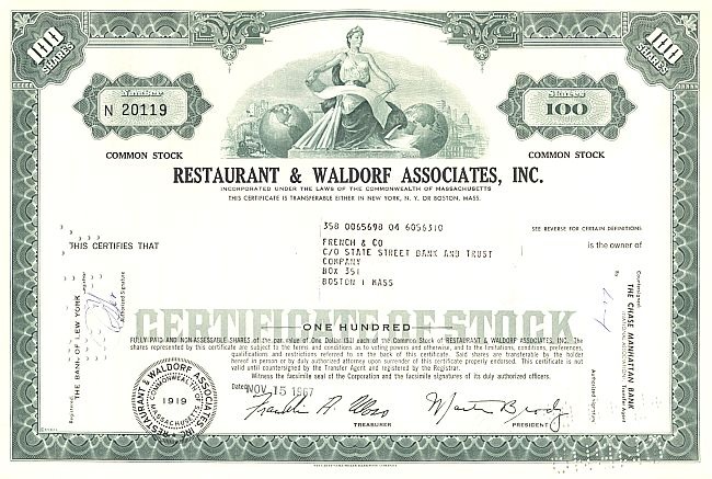 Restaurant Associates Industries Inc. historic stocks - old certificates