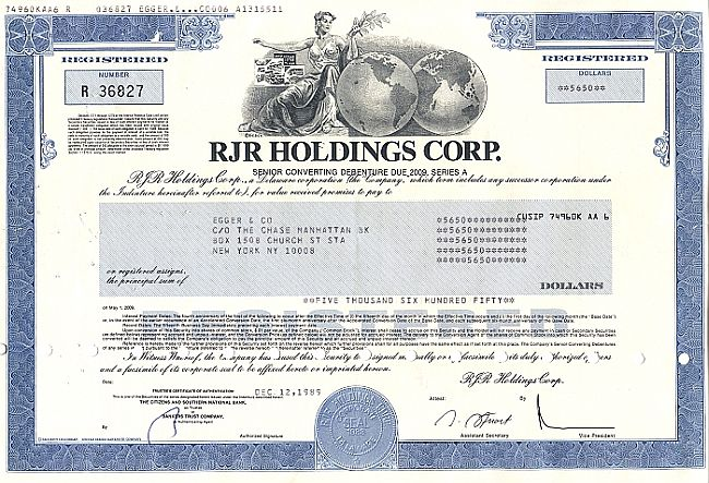 RJR Holdings Corp. historic stocks - old certificates