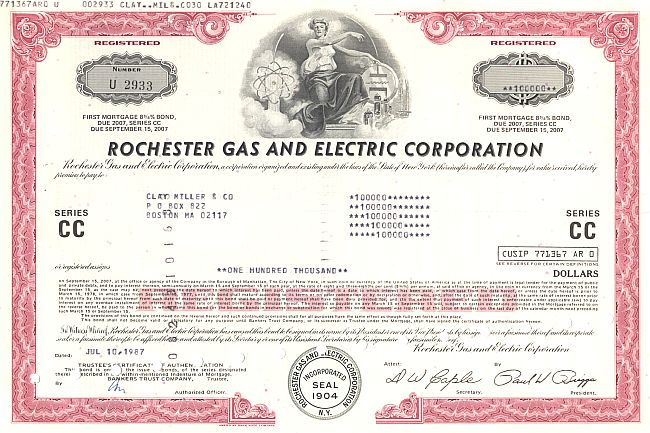 Rochester Gas and Electric Corporation historische Wertpapiere - alte Aktien