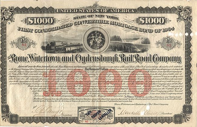 Rome,Watertown and Ogdensburgh Railroad Company historic stocks - old certificates
