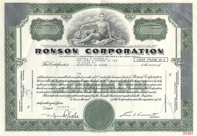 Ronson Corporation historic stocks - old certificates
