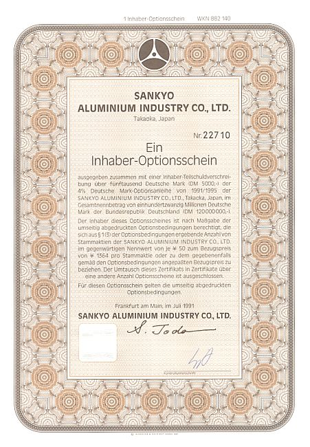 Sankyo Aluminium Industry Co. historic stocks - old certificates