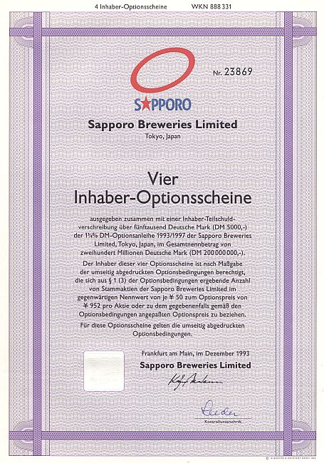 Sapporo Breweries Limited historic stocks - old certificates