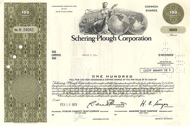 Schering-Plough Corporation historische Wertpapiere - alte Aktien