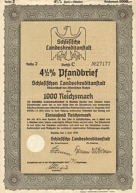 Schlesische Landeskreditanstalt (1000er 1939) historic stocks - old certificates
