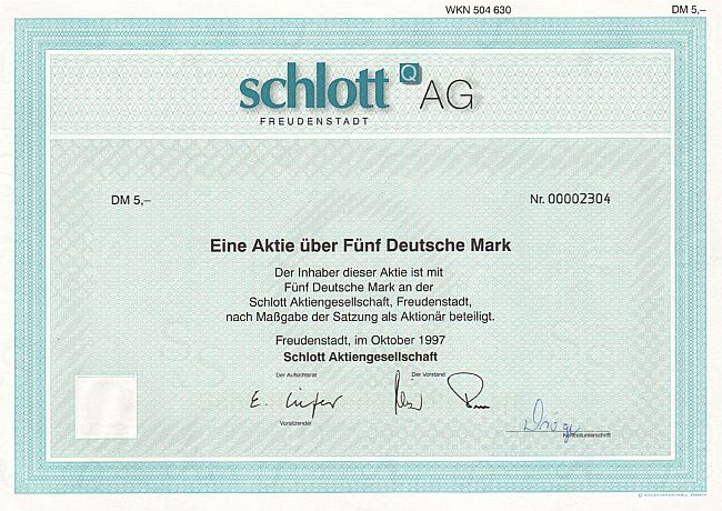 Schlott Aktiengesellschaft historic stocks - old certificates