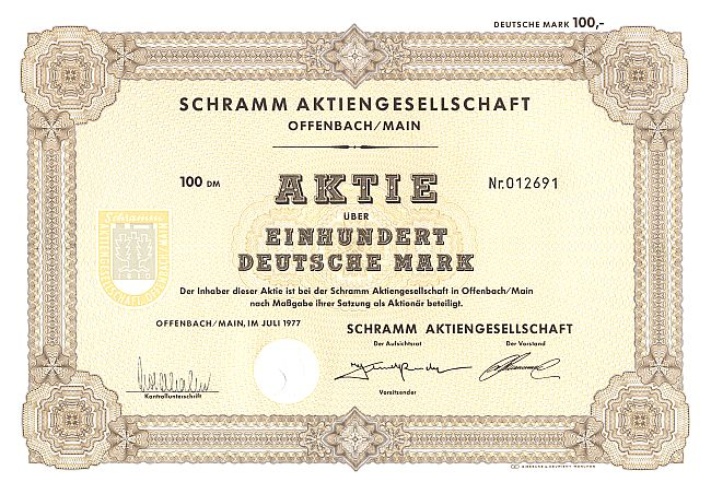 Schramm Aktiengesellschaft historic stocks - old certificates