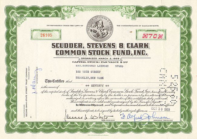 Scudder, Stevens & Clark Common Stock Fund, Inc. -  historic stocks - old certificates Banks and Insurance