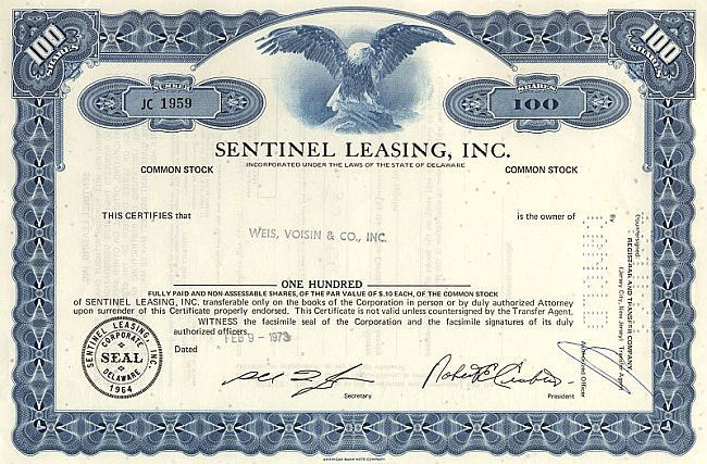 Sentinel Leasing Inc. historic stocks - old certificates