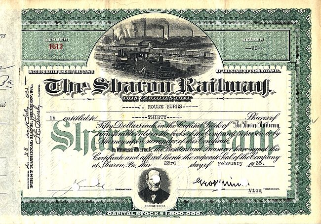 Sharon Railway historic stocks - old certificates
