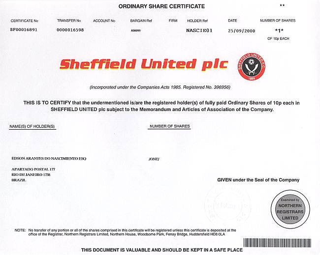 Sheffield United plc (Edson Arantes Do Nascimiento Esq = Fußballstar Pele) historic stocks - old certificates