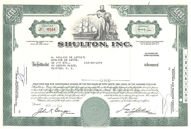 Shulton, Inc. historic stocks - old certificates