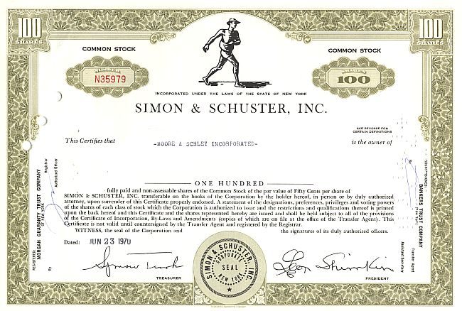 Simon & Schuster Inc. historic stocks - old certificates