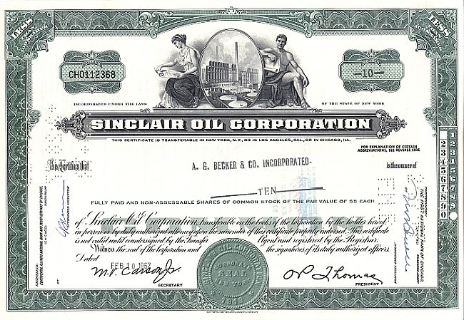 Sinclair Oil Corporation historic stocks - old certificates