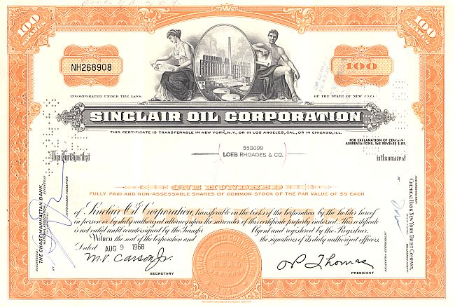 Sinclair Oil Corporation historische Wertpapiere - alte Aktien