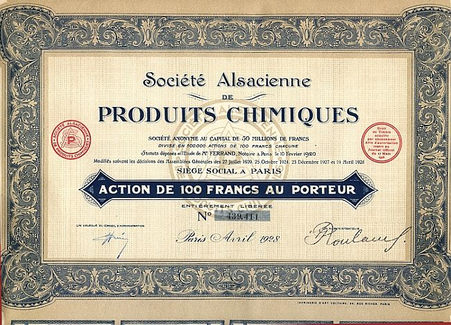 Societe Alsacienne de Produits Chimiques historic stocks - old certificates