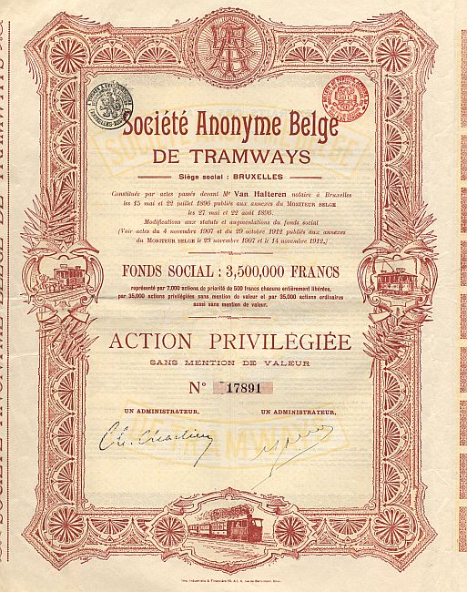 Societe Anonyme Belge de Tramways historic stocks - old certificates