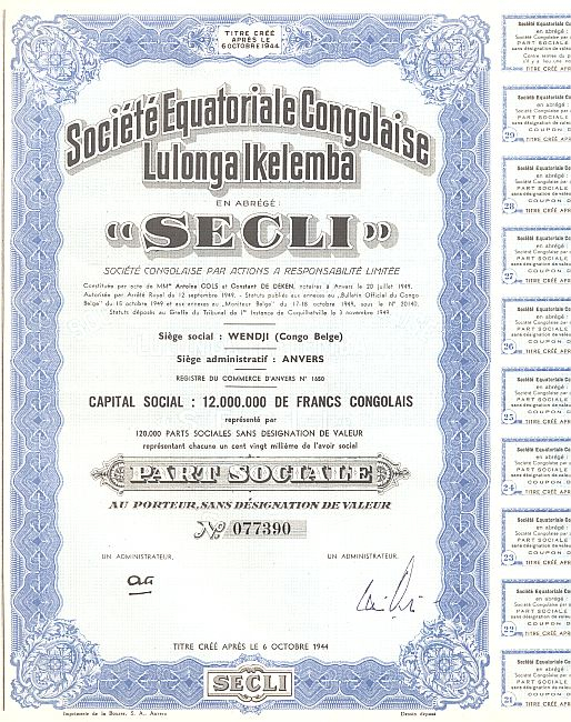 Societe Equatoriale Congolaise Lulonga Ikelemba (SECLI) historic stocks - old certificates