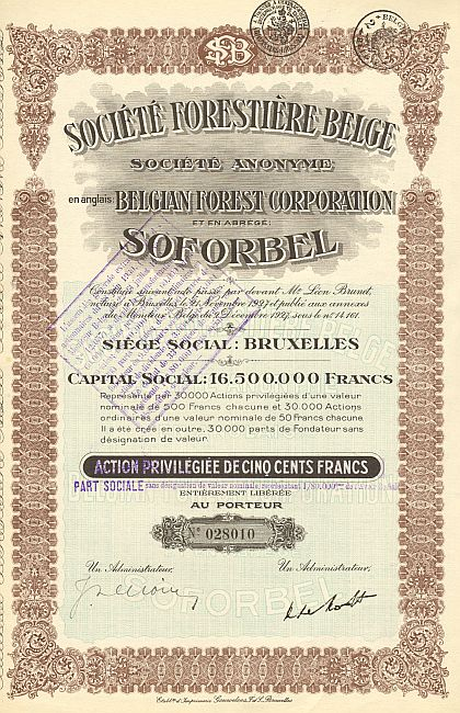 Societe Forestiere Belge (Belgian Forest Corporation) SOFORBEL historic stocks - old certificates