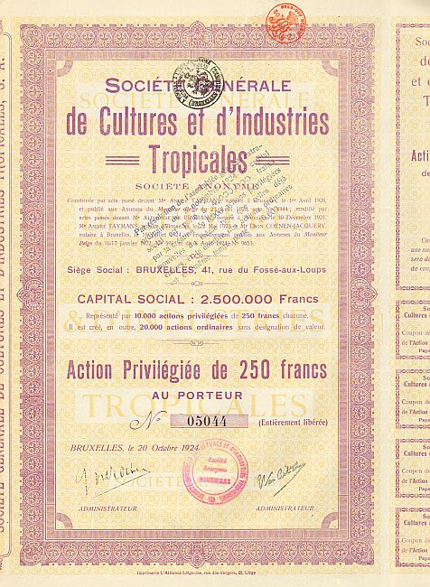 Société Générale des Cultures et d'Industries Tropicales historic stocks - old certificates