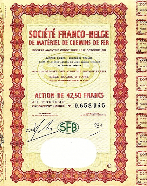 Societe Franco-Belge de Materiel de Chemins de Fer historic stocks - old certificates