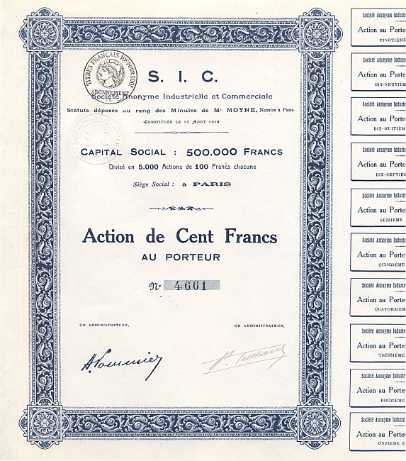 Societe Anonyme Industrielle et Commerciale (S.I.C.) historic stocks - old certificates