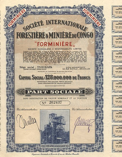 Societe Internationale Forestiere & Miniere du Congo historic stocks - old certificates