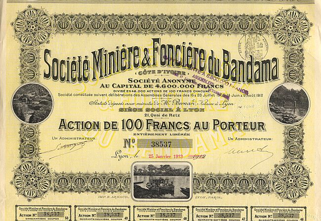 Societe Miniere & Fonciere du Bandama (1913) historic stocks - old certificates