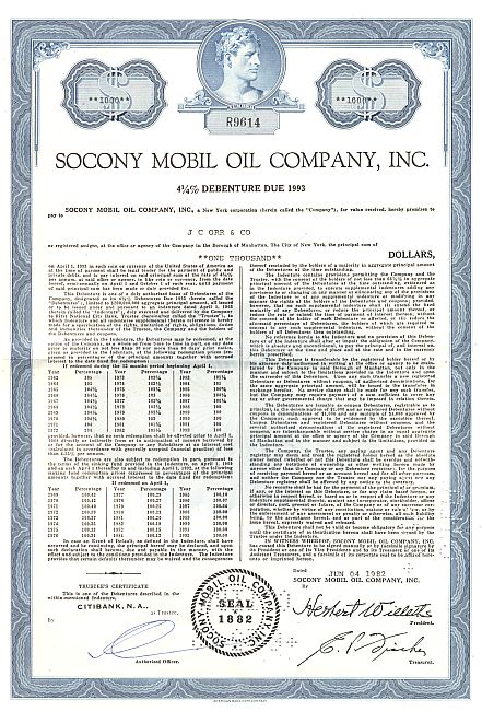 Socony Mobil Oil historic stocks - old certificates