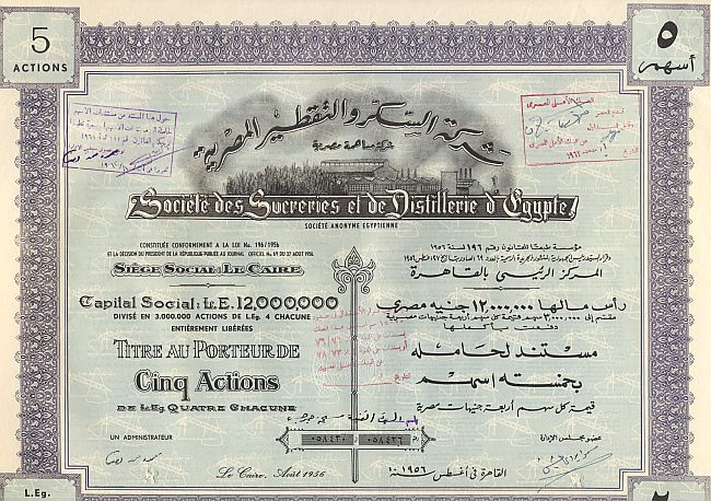 Societe des Sucreries et de Distillerie d' Egypte (5er) historic stocks - old certificates