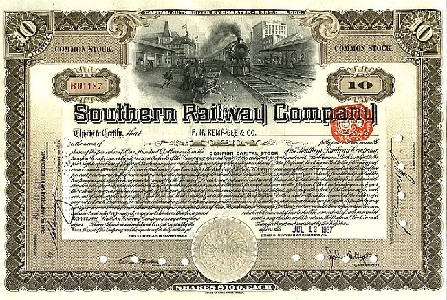 Southern Railway Company historic stocks - old certificates