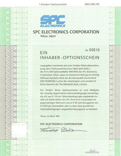 SPC Electronics Corporation historic stocks - old certificates